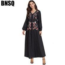 Повседневные платья размера плюс с v-образным вырезом и цветочной вышивкой, платья с длинным рукавом на талии, пакистанский кафтан, одежда для Рамадана, Турция