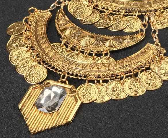Oświadczenie w stylu Vintage łańcuchy Rhinestone Chocker złoty Link wisiorek naszyjnik na impreżę przesadzone naszyjniki