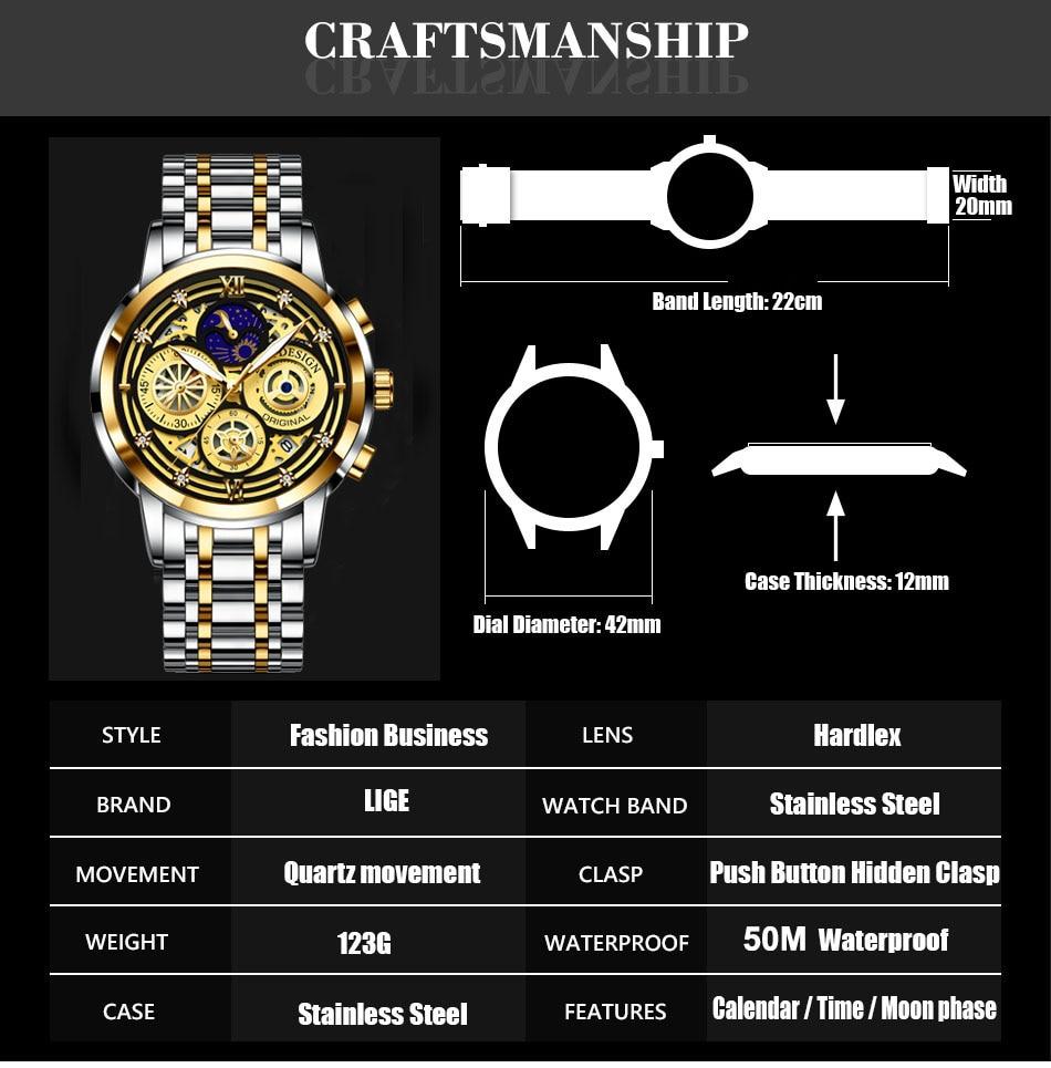 Hbc44a7e96b2b4ca39366bd1a5ccad648u LIGE 2021 New Fashion Men Watch