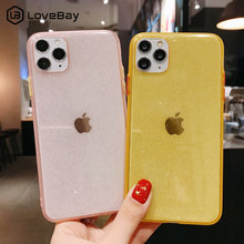 Lovebay Clear Glitter Contrast Color Phone Case For iPhone 11 Pro X XR XS Max 8 7 Plus SE 2020 Candy Sparkly Hard PC Back Cover