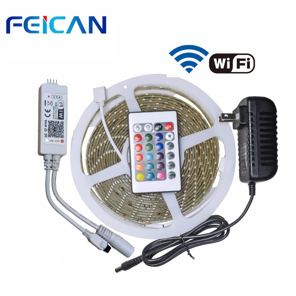 LED bande lumière RGB 5m SMD2835 WIFI RGB LED de contrôle 24 touches IR télécommande 12V 2A adaptateur secteur LED étanche kit de bande
