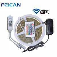 LED Strip Light RGB 5m SMD2835 WIFI RGB LED controller 24keys IR Control Remote 12V 2A Power Adapter Waterproof led strip kit
