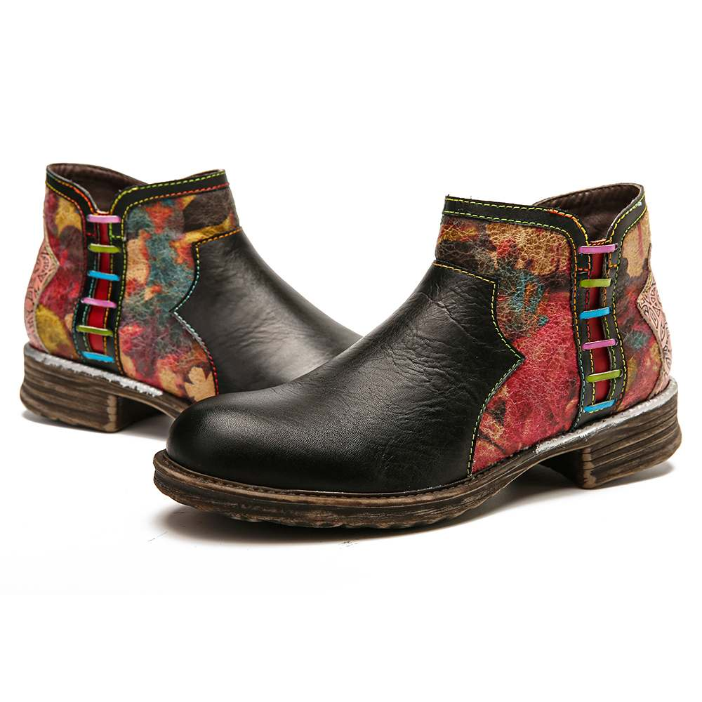 SOCOFY Retro Boots Watercolor Texture Splicing Genuine Leather Zipper Low Heel Boots Elegant Ladies Shoes Women 2019