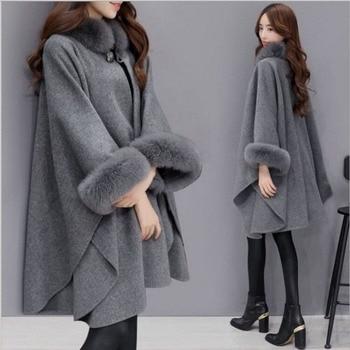 Winter fur coat women's jacket extra size bat wing Plush sleeve warm fur cape women's coat Cape Cape cape coat women's Woman #1 chiffon children butterfly wing design cape