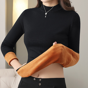 Heliar Long Johns Women Thermal Underwear Sweater Solid O-neck Thick Pullovers Autumn Winter Warm Velvet Sweater For Women