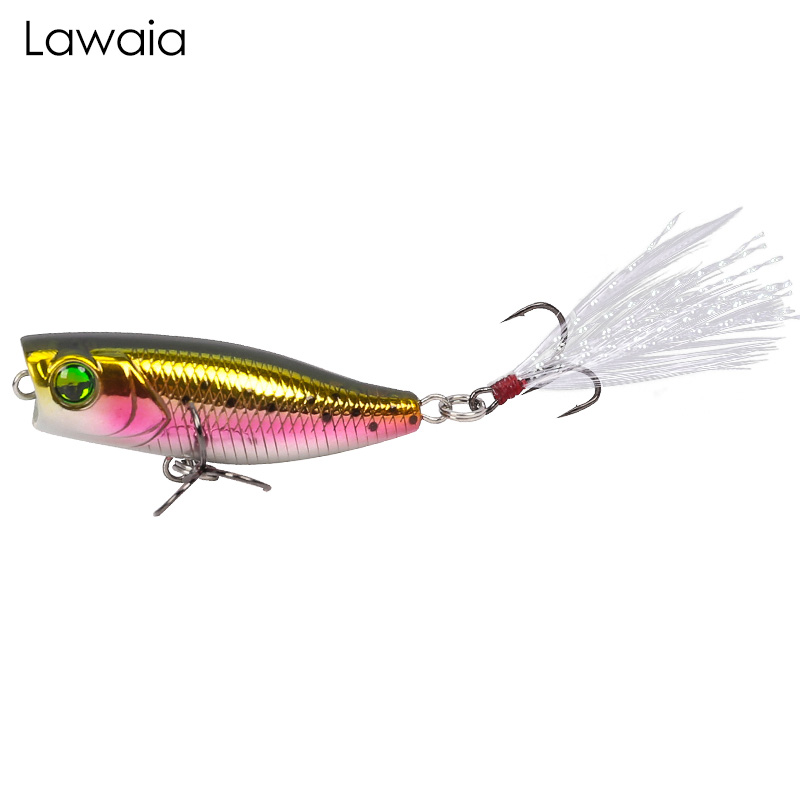 Lawaia Fishing Lures 40mm/3g Mini Series Water Surface With Feather Wavelet Climbing Road Hard Bait Floating Gears