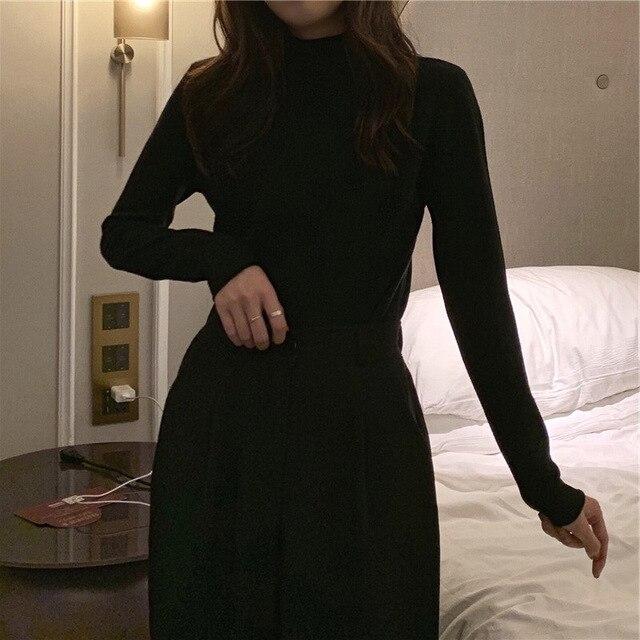 2021 autumn Black White solid Women Long Sleeve T-shirts half Turtleneck Female T-shirt Casual slim T shirt Bottoming Shirt top 4