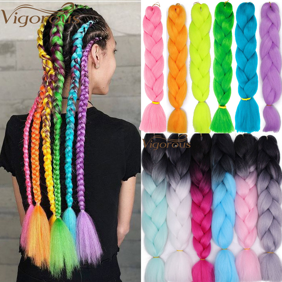 Vigorous Jumbo Braid Hair Ombre Crochet Braiding Synthetic Hair Extensions Yaki Braiding Hair Blond Red Pink