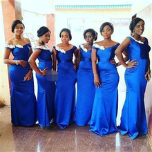 Mermaid Blue Bridesmaid Dresses Satin African V-neck Off The