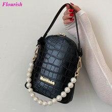 Moda couro jacaré bolsa de ombro bolsas e bolsas luxo designer telefone baga pequena pérola crossbody sacos feminino bonito sac