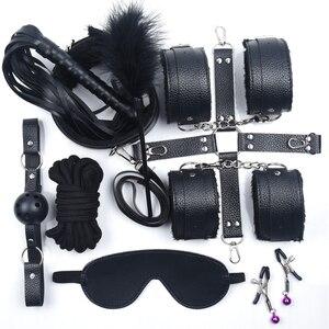 Image 1 - Kit Restraint fetiche BDSM Bondage Sexo Jogos Eróticos Acessórios Casais Máscara Boca Colarinho Algemas Mordaça Sex Toys para Mulheres