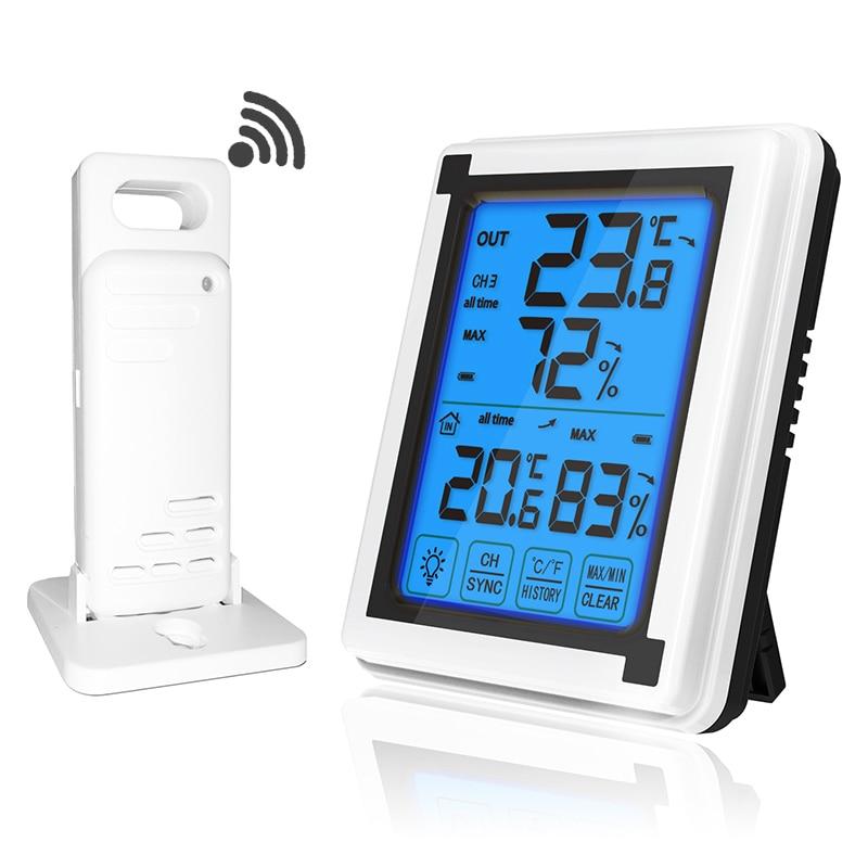 Сенсорный экран метеостанции + открытый погоды Сенсор термометр с фоновой подсветкой и гигрометром декоративные часы для Беспроводной мет...