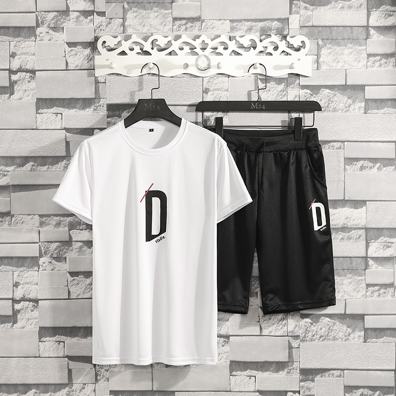 Men Casual Sets 2020 Summer New Tracksuit Solid Letter Print Male T-Shirts+Shorts Two Piece Men's Sportswears Loose Set Clothing