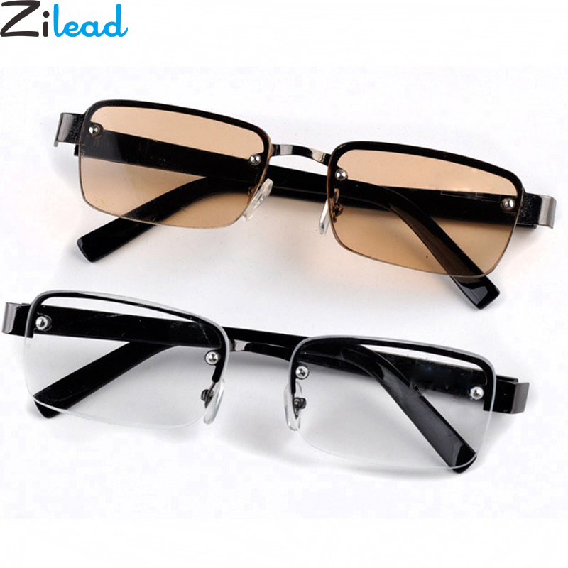 Zilead Classic Metal Half Frame Sun Reading Glasses Glass Lens Sunglasses Prebyopia Spectacles For Men Women Eyeglasses Eyewear