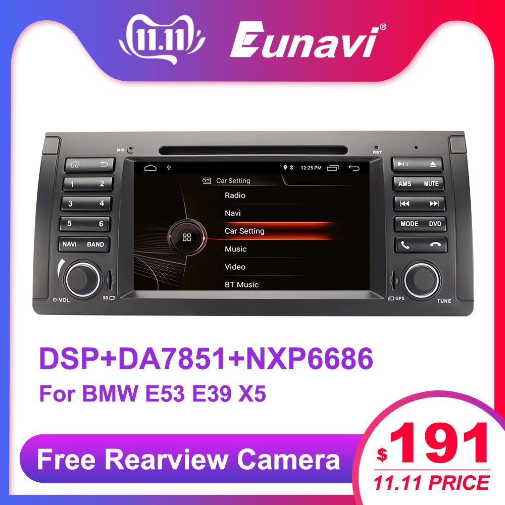 Eunavi 1 din 7'' Android 9.0 Car dvd player For BMW E53 E39 X5 Quad core Auto radio Car Multimedia Stereo with DSP WIFI BT SWC image