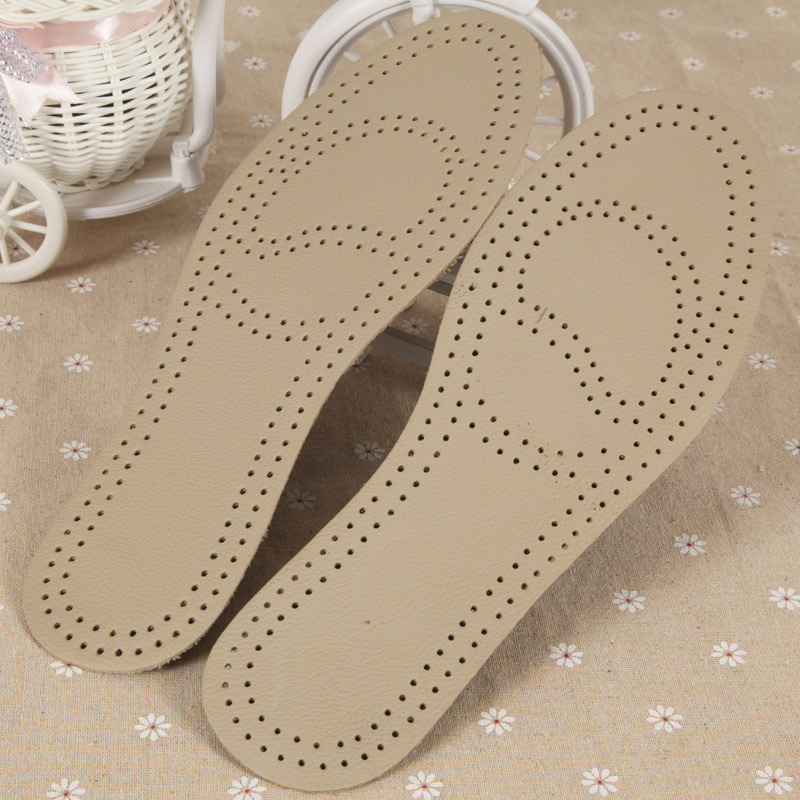 1 Pair Massage Insoles Unisex Leather Latex Insole Arch Support Breathable Shoes Cushion CJ666