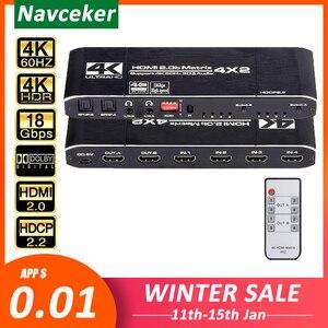 Image 1 - Navceker 18.5 Gbps HDMI Matrix 4x2 4K @ 60Hz HDMI répartiteur de commutateur avec SPDIF et L/R 3.5mm HDR HDMI commutateur 4x2 prise en charge HDCP 2.2 3D