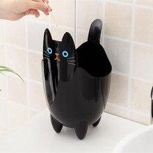 1 個ごみビンクリエイティブデスクトップミニごみ箱リビングルームなしの寝室のカバーかわいい猫廃棄物ビンキッチン浴室収納