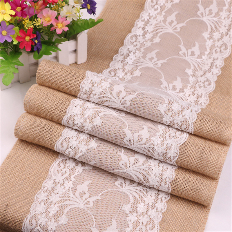 275CM Vintage Retro Burlap Linen Jute Table Gadget Champagne Wedding Dining Room Table Cloth Christmas Restaurant Table Runner