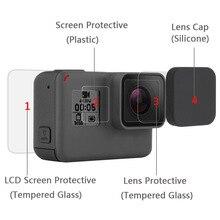 Temperli cam ekran koruyucu kapak kılıf Gopro Hero 5 6 7 siyah Gopro Len LCD koruyucu film eylem kamera aksesuarları