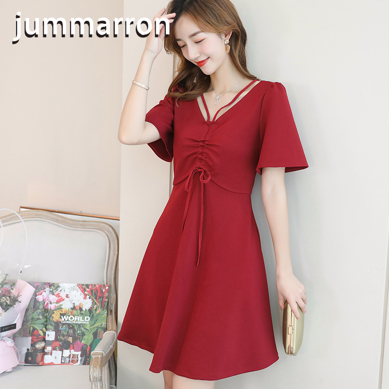 jummarron 2020 new Spring and summer Korean leisure Office lady slim female slim solid color short sleeve <font><b>dress</b></font> red <font><b>dress</b></font> black image