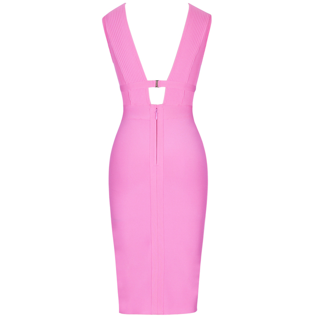 Ocstrade Summer 2019 Women Cut Out Bandage Dress Bodycon Sexy Double Deep v Neck Pink Bandage Dress Rayon Evening Party Dress 5