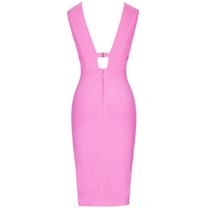 Image 5 - Ocstrade Summer 2020 Women Cut Out Bandage Dress Bodycon Sexy Double Deep v Neck Pink Bandage Dress Rayon Evening Party Dress