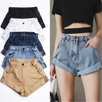 Flanging Denim Shorts Women's White Women Short Jeans Khaki Wide Leg Elastic Waist Vintage High Waist Shorts Women Summer цена 2017