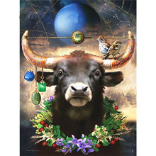 Full 5D Diy Diamond Painting Moon Bull He Mosaic Rhinestone Embroidery Cross Stitch Home Decor Handicrafts Gift