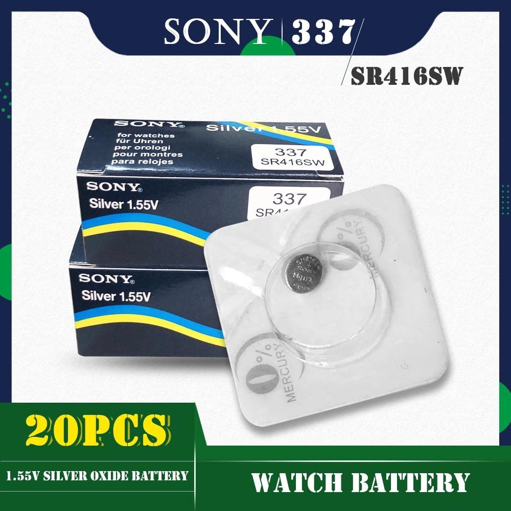 20 pçs/lote para sony original 337 sr416sw 1.55v botão de óxido prata células baterias lr416 337a ag6 para relógio único grão embalagem
