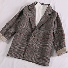 Autumn fashion loose plaid suit jacket female Casual One Button Full Sleeve Plaid Womens Blazer Big pocket ladies office