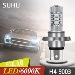 SUHU 2Pcs H4 9003 HB2 1800LM 6000K Fog Light LED Headlights 80W Hi/Low Beam Driving Lamp White 12V Mini Auto Fog Head Lamp Bulbs