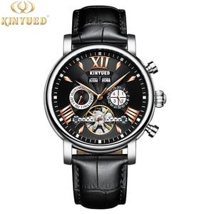 Image 4 - KINYUED montre mécanique automatique, étanche en cuir, mode, calendrier perpétuel, emballage cadeau