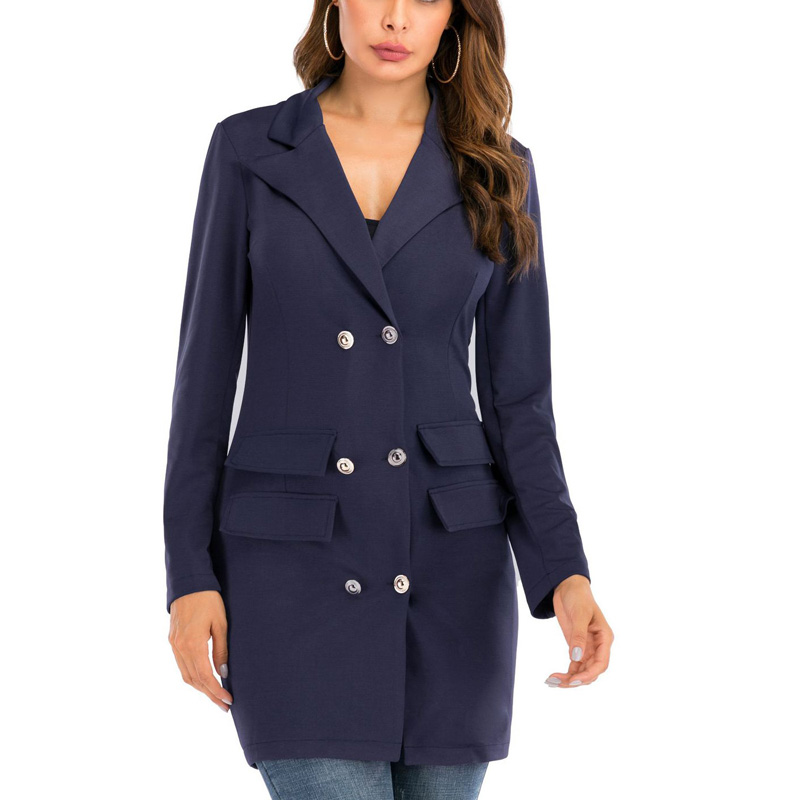 Womens Double Breasted Button Front Military Blazer Coat Outdoor Jackets Outwear