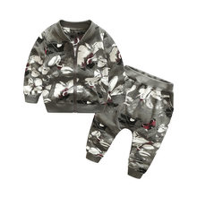 Children Clothing Sets Autumn Girls Boys Clothes Sports Suit Floral Zipper Coat+Pants 2pcs Kids Tracksuit for Boy(China)