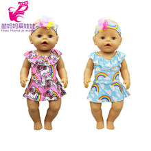 "43cm baby doll Rainbow Swimsuit 18"" Girl Doll Costume Girls Play Toy Doll clothes(China)"