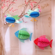 1pc Creative 3D Card Fish Bird Paper Honeycomb Holiday Decoration Party