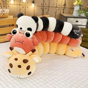 Colorido caterpillar em forma de pelúcia crianças macio panda girafa caranguejo abraço travesseiro boneca menino menina brinquedo almofada novo presente