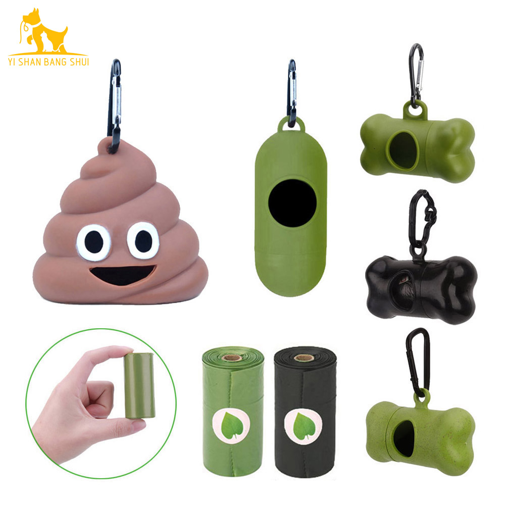 Degradable Eco-friendly Pet Waste Bags Outdoor Portable Soft Glue Cat Dog Poop Bag Dispensers Pets Trash Cleaning Supplies 1PCS