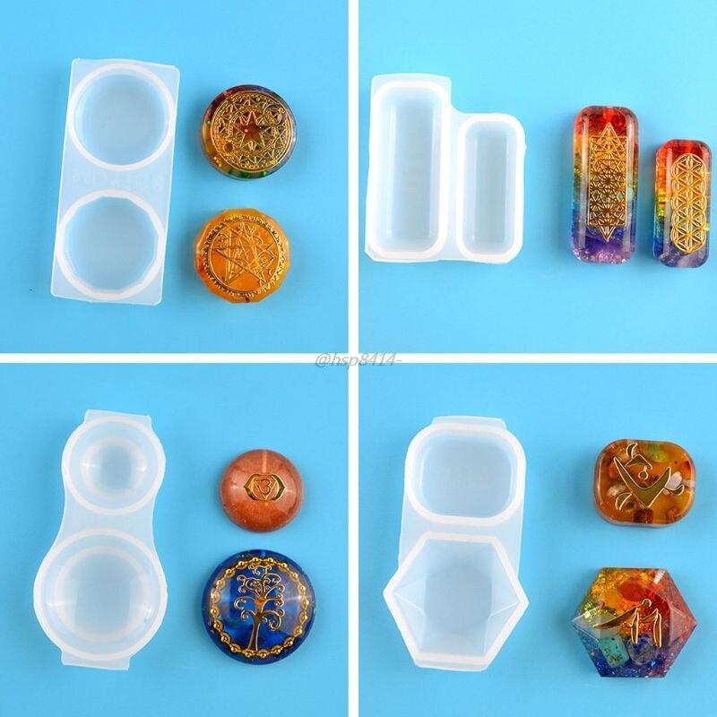 Гранёная круглая квадратная форма для подвесок из оргонита, кристаллы, камни, ОРГОН, силиконовая смола, форма, брелок, инструмент для изгото...