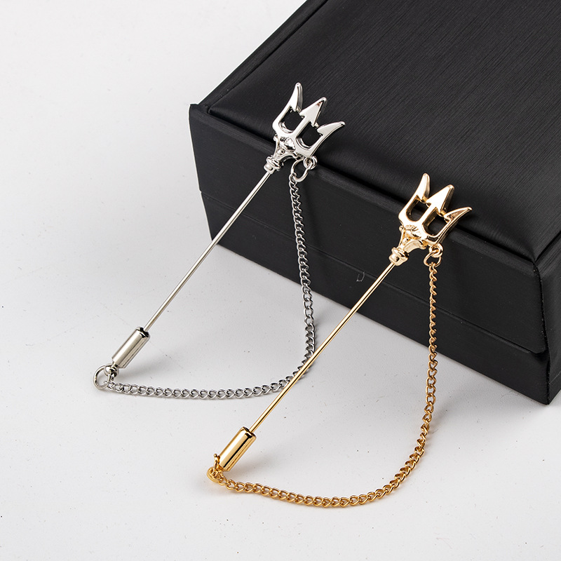 Gold Trident Badge Brooches Pins Sweater Suit Collar Long Chain Needle Lapel Pin Metal Jewelry Gift for Men Women Accessories in Brooches from Jewelry Accessories