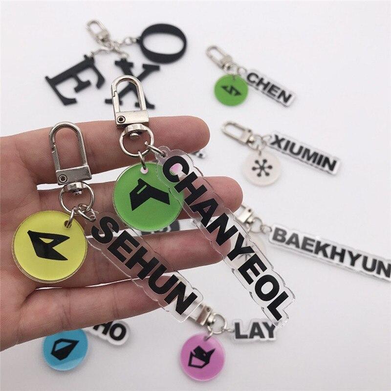 Kpop EXO Music Concert Keychain Charm Transparent Keyring CHANYEOL SEHUN BAEKHYUN D.O. XIUMIN Pendant Key Chain
