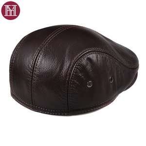 Image 4 - 2019 New Autumn Winter Mens Hats Villus Warm Genuine Leather  Western Style Fashion Brand Peaked Cap Cowhide Dads Hat