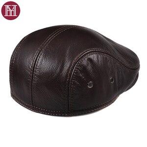 Image 4 - Новинка 2019, осенне зимние мужские шапки, оригинальная модная брендовая Кепка в западном стиле, Кепка из воловьей кожи, шапка для отца
