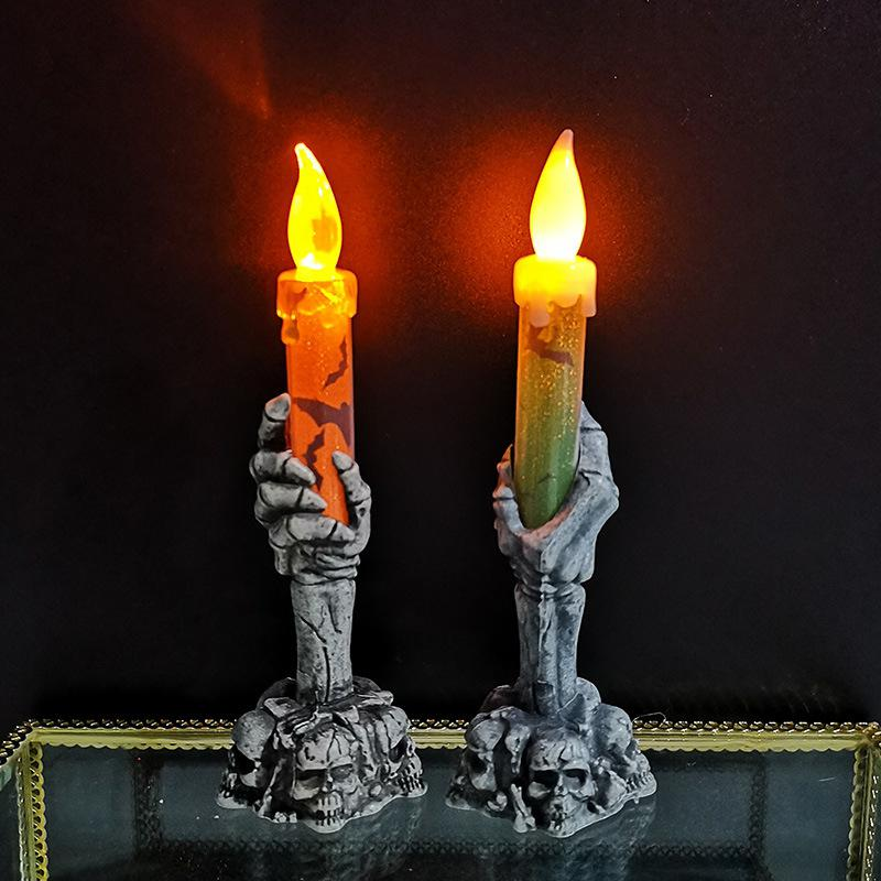 Halloween Skeleton Ghost Hand Flameless Electronic Candle Led Light Plastic Lamp Fake Candles Halloween Luces Led Decoracion