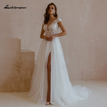 Lakshmigown Sexy Boho Wedding Dresses with High Slit vestido de novia V Neck Lace Appliques Bridal Gown Robe De Mariee