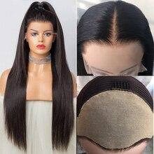 가짜 두피 가발 13x6 레이스 프론트 보이지 않는 매듭 가발 표백 된 매듭 pre plucked lace 프론트 인간의 머리 가발 페루 레미 aimoonsa