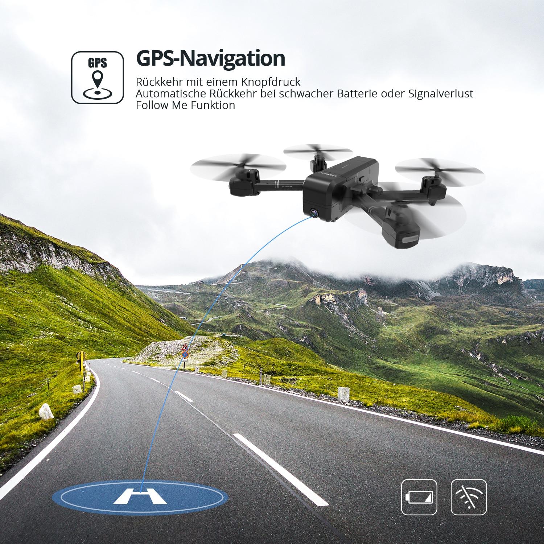 DEERC DE25 GPS Drone With 1080p HD Camera 120° FPV Wifi Live Video Professional Drone GPS RC Helicopter Quadcotper Quadrocopter (Black Drone)