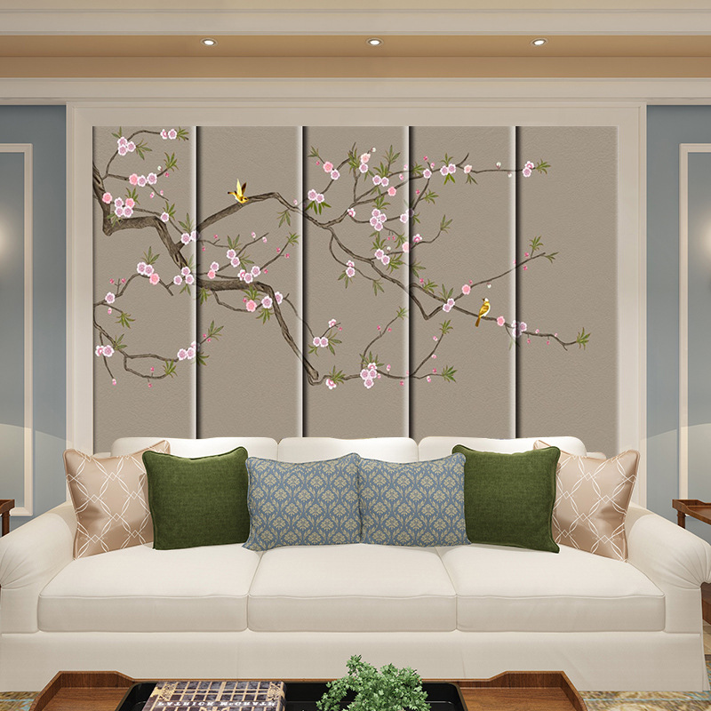 Flowers And Birds Mural Pattern Hard Wall Chinese Style European Style American-Style Living Room Master Bedroom Film And Televi