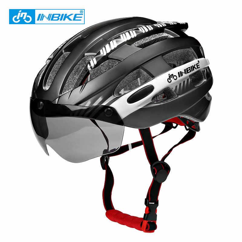 INBIKE רכיבה על אופניים קסדה עם משקפי Ultralight MTB אופני קסדת גברים נשים הר כביש נשים casco Specialiced אופניים קסדות